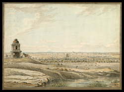East view of Bangalore, with a small shrine and a dismounted horseman in the foreground, and cattle grazing beyond.